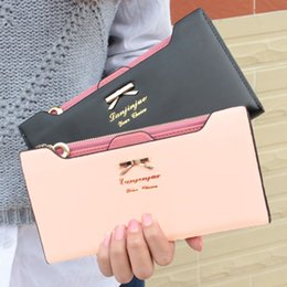 Wholesale Ladies Purses Wholesale - Fashion Wallet Women Lady Long Wallets Purse Female Candy Color Bow Knot PU Leather Carteira Feminina for Coin Card Clutch Bag