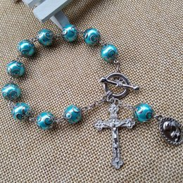 Wholesale Rosary Beaded Chains - 2016 New Fashion Catholic Jewelry 10 mm Beads Glass Rosary Cross Bracelet With Cup Hot Wholesale