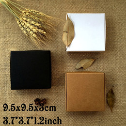 Wholesale Crafts Candy - 50PCS 9.5*9.5*3CM Black Brown Carton Kraft Paper Box White Wedding Gift Packing Boxes Wedding Candy Box Party Favors Soap Boxes