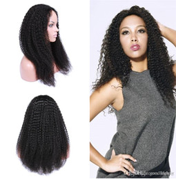 Wholesale European Lace Top - Top Quality European Human Hair Kinky Curl lace wigs, Natural Color Full Lace Wigs For African Women, curly lace front wig free shipping
