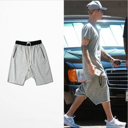 Wholesale Relaxing Canvas - men drop crotch boardshort grey black hip hop kanye west style shorts Justin Bieber Drawstring Bermuda Running Cargo beach pants