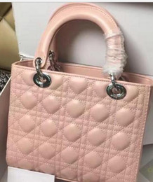 Wholesale Miss Handbags - Pink Real Lambskin Lady Plaid Handbag Black Patent Leather Rivets Tote Bag with Charms Lambskin Miss Bag