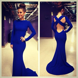 Wholesale Long Back Casual Dresses - Royal Blue Mermaid Dresses High Neck Formal Evening Dresses Long Sleeves Sexy X Back Court Train Prom Gowns Casual Party Dresses