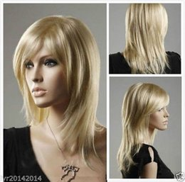Wholesale Womens Costume Large - 100% Brand New High Quality Fashion Picture full lace wigs>>Womens Long Layer Bangs Straight Blonde Natural Hair Cosplay Party Costume Wigs