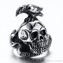 Wholesale Rings For Top Fingers - Top Quality Titanium Steel Rings Finger Punk Style Expendables Skull 316L Stainless Steel For Men Ring Party Birthday Jewelry
