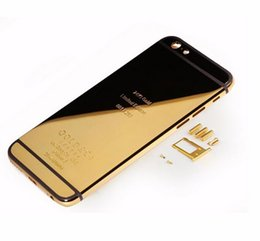 "Wholesale 24k gold housing - Wholesale-For iPhone 6 4.7"" 24K Limited Mirror GOLD Frame Replacement Back Cover Housing LOGO Engraved Words with Diamond free shipping"