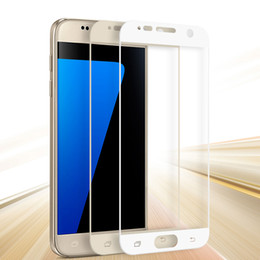 Wholesale Glass S2 - For Galaxy S7 5.1 inch Full Screen Protector Tempered Glass For Samsung Galaxy S7 Cover Whole Screen Curve Film Protector