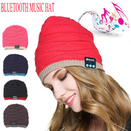 Wholesale Bass Music Man - Fashion Female Men Hat 2017 Bluetooth smart cap Wireless Knitted Music Hat With Bluetooth earphone Bass Stereo Headset Sports Hat