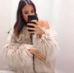 Wholesale Fake Fur Neck Warmer - S-3XL Women 2017 Winter New Fashion Pink FAUX Fur Coat Elegant Thick Warm Outerwear Fake Fur Jacket Chaquetas Mujer