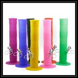 Wholesale Smoke Food - Food Grade Certified 9 Inch Silicone Hookah Shisha Pipe 23CM Portable Unbreakable Tobacco Smoking Water Bubbler Percolator Bong Wholesale