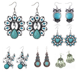 Wholesale Turquoise Butterfly Jewelry - Butterfly Owl Heart Peacock Antique Silver Hollow Turquoise Vintage Earrings Punk Coin Earring Fashion jewelry 7 Styles DHL free shipping