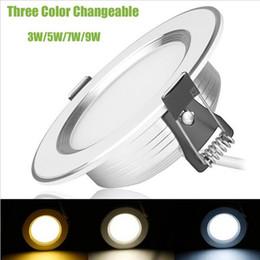 Wholesale three color led - Super bright Ultar Slim Led Recessed Downlight 3W 5W 7W 9W 110LM W 2700K-7000K Warm white Cool white Neutral white Three Color Change