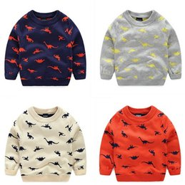 Wholesale Kids Animal Sweaters - Lovely Cartoon Pullover for Kids Animal Dinosuar Jacquard Sweaters 4 Colors Selection Gray Beige Orange Dark Blue