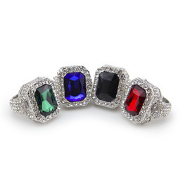 Wholesale Green Ruby Ring - Men Silver Plated Ruby Hip Hop Men Ring Micro Pave Cz Ring Punk Rap Jewelry Size Available