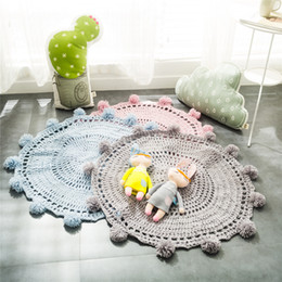 Wholesale nordic knitted - children room carpets INS DIY Carpets Nordic style photography props room pad handmade crochet carpets DIY knitting pads ZJ-31