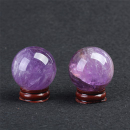 Wholesale Natural Gemstone Carving - HJT Wholesale 2pcs Natural Amethyst Gemstone Sphere ball Amethyst healing sphere for sale Chrismas Home Decorations small crystal ball 40mm