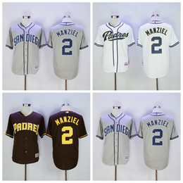 2017 johnny manziel jerseys Cool Base San Diego Padres 2 Johnny Manziel Jersey MLB Flexbase Johnny Manziel Baseball Jerseys Coffee Gris Gris Blanc Throwback promotion johnny manziel jerseys