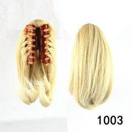 Wholesale Blonde Claw Hair Extensions - Wholesale-blonde synthetic hair ponytail, Hair Extensions, claw ponytail, rabo de cabelo, color 1003
