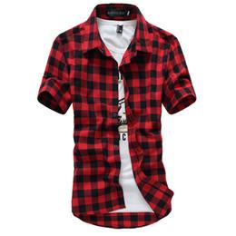 2019 camisa masculina vermelha de xadrez preto Atacado-Vermelho E Preto Xadrez Camisa Dos Homens Camisa de Verão Estilo Vetement Homme Casual Outdoorwear Mens Camisas de Vestido Camisa Camisa Social Dos Homens desconto camisa masculina vermelha de xadrez preto