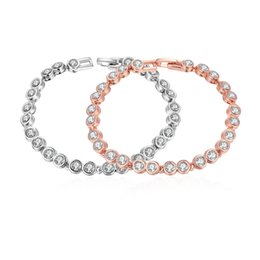 Wholesale Charm Brace - Brace jewelry charm bracelet shiny rhinestone rose gold plated tin alloy beads circle bracelet valentine's day gift