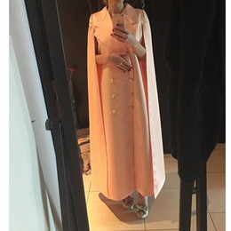Wholesale Orange Satin Coat - 2016 Saudi Arabia Special Dust Coat Style Prom Dresses with Cape Ankle-length Evening Gowns Free Shipping