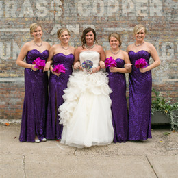 Wholesale Made Honor Green Sequin - Sweetheart Sequin Purple Bridesmaid Dresses Wedding Guest Dress Maid of Honor Party Dresses Factory Custom Made