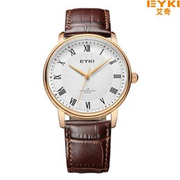 Wholesale Eyki Watches Overfly - EYKI Overfly Watch Men Watch Top Brand Luxury Genuine Leather Strap Analog Display Quartz Watch Casual Watch relogio masculino