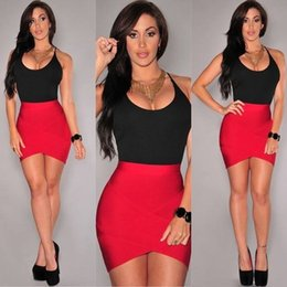 Wholesale Tight Black Slimming Sexy Dress - Fashion sexy low cut sling Ass Tight color dress skirt nightclub sexy slim sleeveless deep v veck dress