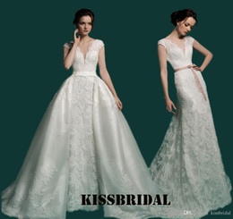 Wholesale Detachable Wedding Sleeves - Sexy Two In One Detachable Train Mermaid Wedding Dresses 2017 Deep V Neck Cap Sleeves Vintage Arabic Lace Over Skirts Bridal Gowns