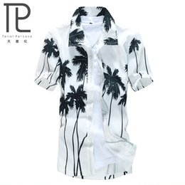 Wholesale Loose Collar Shirts Wholesale - Wholesale-Hot style Brand Summer Hawaiian Men's Hawaii Beach Shirt, chemise homme Coconut Palm prints Loose Casual Shirts Asian Size L-4XL