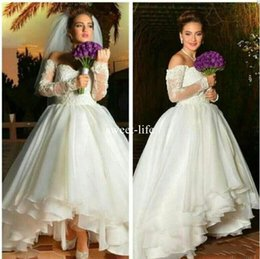 Wholesale High Low Skirts Chiffon - Sexy 2017 A line Weddding Dresses Sweetheart Bateau Long sleeve Zipper with Lace Applique Empire High low Chiffon Tiered Skirts wedding gown