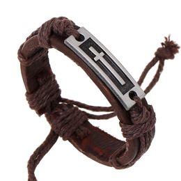 Wholesale jesus cross bracelet - Jesus cross bracelets punk twist Genuine leather Bracelet Wristband bangle cuff for men women jewelry 161478