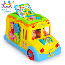 Wholesale Cartoon Cars Musical Toys - Wholesale-intelligence Cartoon animal bus, electric music multifunction baby toy car free shipping