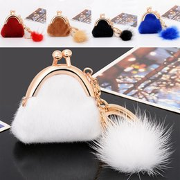 Wholesale Trendy Backpacks For Women - Pom Pom Keyring Plush Rabbit Fur Ball Exquisite Small Bag Car Keychain Pendant Handbag Backpack Charm For Women Fashion Key Chain B783Q