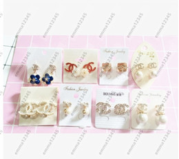 Wholesale Sterling Silver Mix - Brand desgin Earring Women Party Stud Mixed color Sterling Silver Earring Casual Brand Crystal Retro High Quality Hot Sale Earrings