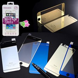 Argentina Para iPhone 6 Protectores de pantalla de vidrio templado colorido Espejo frontal y posterior Película colorida para Iphone 6 más Apple Phone 5 Suministro