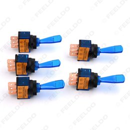 Wholesale Toggle Switch For Light - 5pcs set for 12V Light Illuminated Flick Toggle Switch Car Boat Motorcycel Dash Board Panel Blue