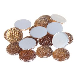 Wholesale Topaz Round Beads Wholesale - 8mm-18mm Light Topaz Round Glue On Resin Beads Flatback Scrapbooking Crafts Non Hotfix Rhinestones DIY Bags Shoes Clothes Embellishment