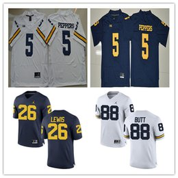 Wholesale Mens Butt - New Style College Michigan Wolverines Mens Jerseys #5 Jabrill Peppers #88 Butt #26 Lewis White Blue Stitched Men College Football Jerseys