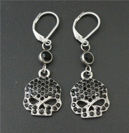 Wholesale Silver Skull Earrings Women - Cool Women 316L stainless steel biker jewelry ladies silver black biker skull earrings With Black Crystal Stones beautiful Biker Stud