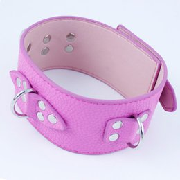 Wholesale Collared Women Bdsm - PU Leather Sex Collar Bondage Restraint Sex Toys Slave Adult Game Neck Ring BDSM Sex Products For Women