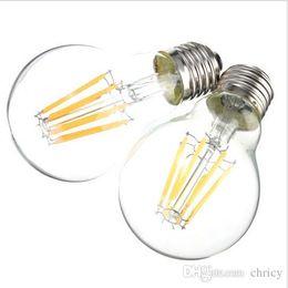Wholesale E27 Type Led Bulbs - A60 E27 led filament bulbs Classic edison LED bulbs Edison Type led light bulbs 2W 4W 6W 8W AC85-265V Retro bulb sapphire substrate
