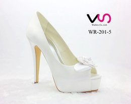Wholesale Satin Bridal Platform - New Rose Bow Brilliant White Color Super High Heel Peep Open Shoe Toe With Thick Platform Dyeable Satin Dyeable Women Bridal Wedding Shoes