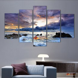 Wholesale Large Abstract Wall Paintings - 5 Pcs Large Canvas Art Sea Painting Canvas Wall Art Picture Home Decoration Living Room Canvas Print Modern Abstract Art Painting