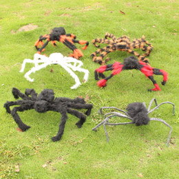 Wholesale Spider Plush Halloween - DHL Free Shipping Halloween Large colour Plush Spiders Halloween Prop Parties Bar Indoor Outdoor Decorations haunted house supplies (75cm)