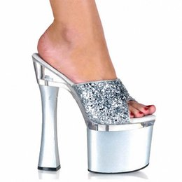 Wholesale Cheap Glitter Heels - 2016 7 Inch High-Heeled Slippers New Selling Cheap 18cm Sexy Fashion Glitter With Summer Slippers Thick Heel Shoe