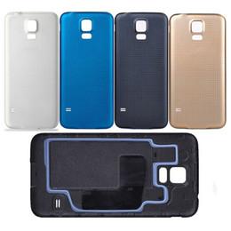 galaxy s5 nueva batería Rebajas Nueva puerta trasera de la carcasa de la batería para Samsung Galaxy S5 SV I9600 con anillo de goma resistente al agua