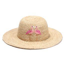 Wholesale Chapeau Femme - Wholesale- Fashion Flamingo Embroidery Women Sun Hats 2017 New Raffia Beach Hats For Girls Summer Chapeau Femme