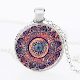 Wholesale Black Cabochon - Silver plated pendant necklace mandala OM chakra jewelry necklaces for women glass cabochon pendant Zen vintage jewelry gifts wholesale