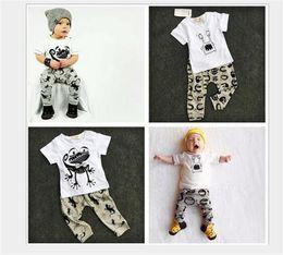 Wholesale Kids Boys Tshirts - Wholesale ins Boys Girls Baby Childrens Clothing Sets Cotton tshirts Harem Pants Set Cartoon Printed Pajamas Leggings Outfits Kids Clothes